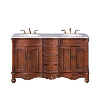 Penn 60 in. Double Bathroom Vanity w/ 4 Drawers 2 Shelves 4 Doors; Marble Top; Porcelain Sink; Teak Color