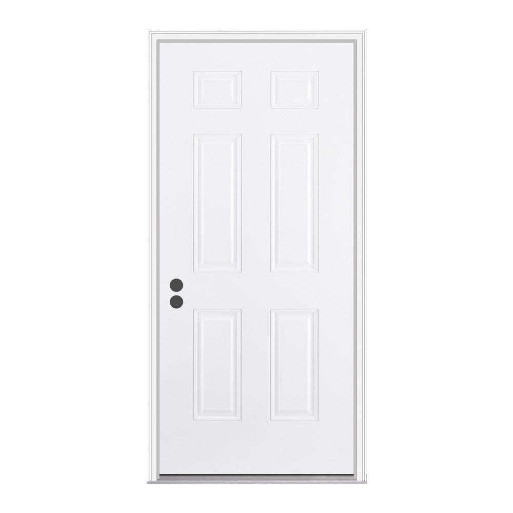 JELD-WEN 30 in. x 80 in. 6-Panel Primed Fiberglass Prehung Right-Hand Inswing Front Door w/Brickmould