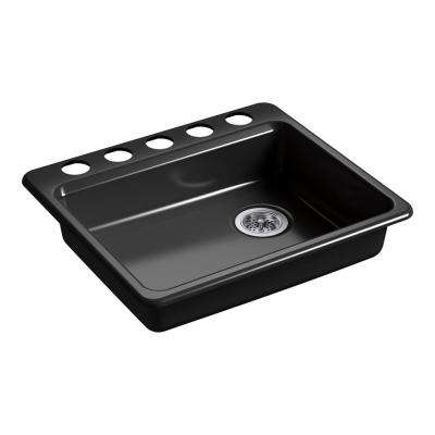 Riverby Undermount Cast Iron 25 in. 5-Hole Single Bowl Kitchen Sink in Black Black