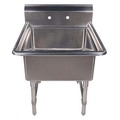 Noah's Collection Freestanding Stainless Steel 30 in. 2 Hole Single Bowl Kitchen Sink in Brushed Stainless Steel