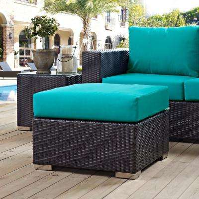 Convene Wicker Outdoor Patio Fabric Square Ottoman in Espresso with Turquoise Cushion