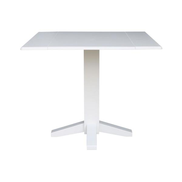 36 in. Pure White Square Drop-Leaf Dining Table