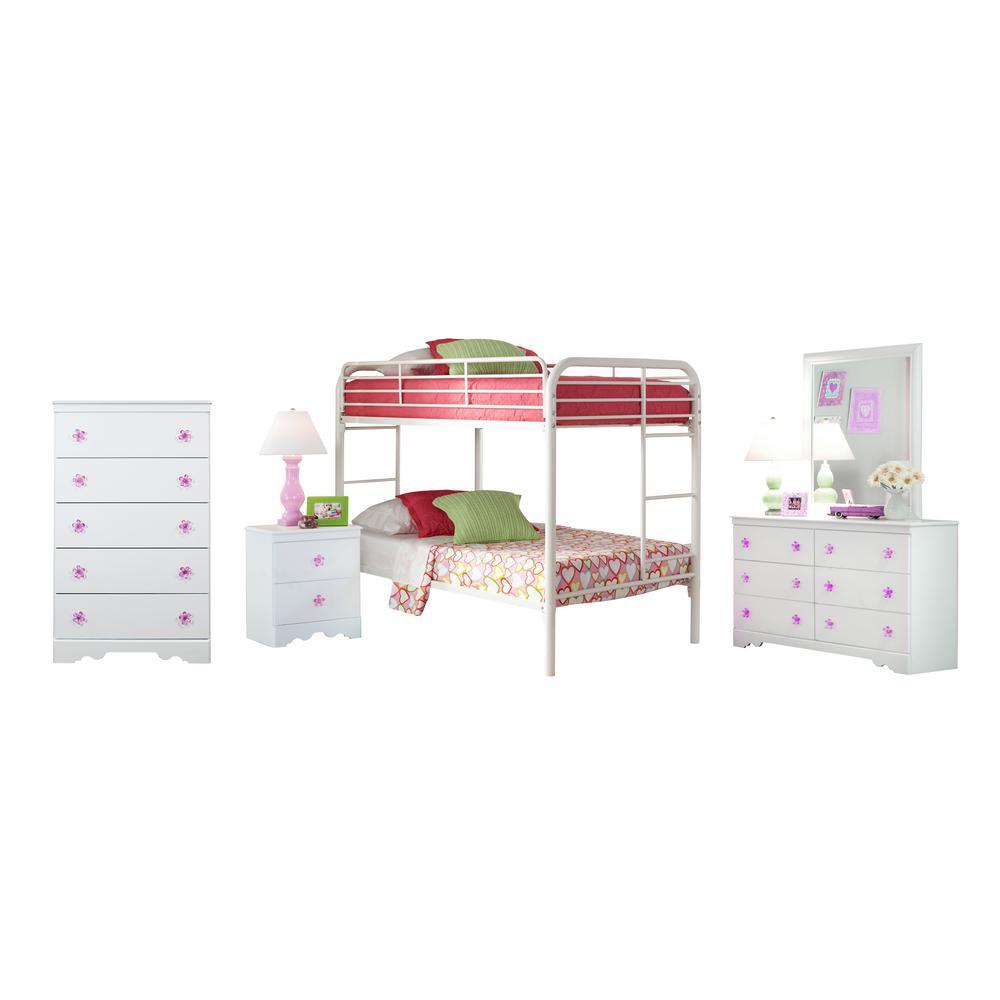 Savannah Collection 269K5TT 5-Piece Twin White Bedroom Set