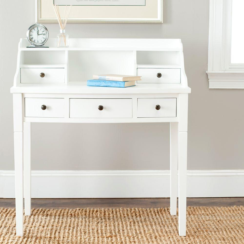 safavieh landon white desk amh6516d the home depot rh homedepot com home depot desk grommet home depot desk chairs