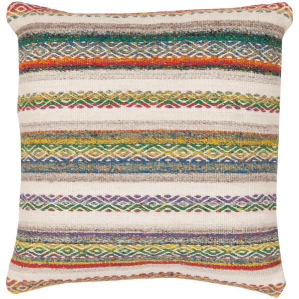 Milogost Red Striped Polyester 3In. x 3In. Throw Pillow