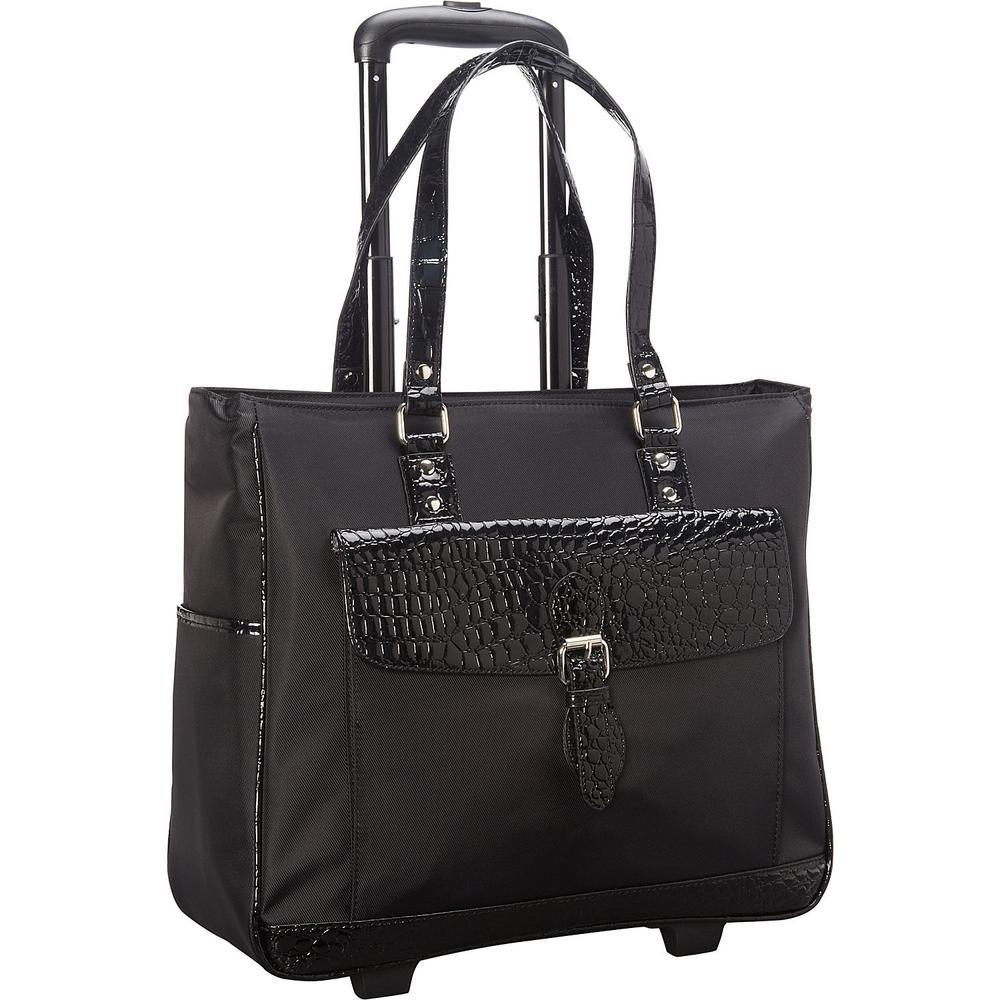 Midnight Black Lightweight Nylon 2-Wheel 17 in. Laptop Business Tote/Overnighter