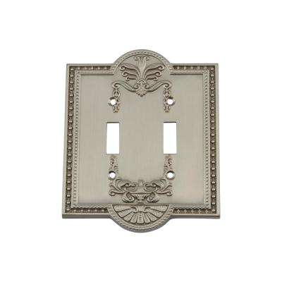 Meadows Switch Plate with Double Toggle in Satin Nickel