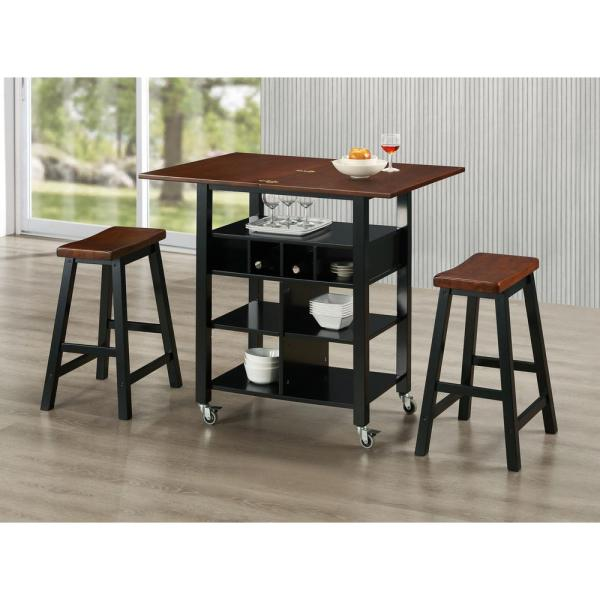 4D Concepts Phoenix Mahogany Kitchen Cart with Stools 43928