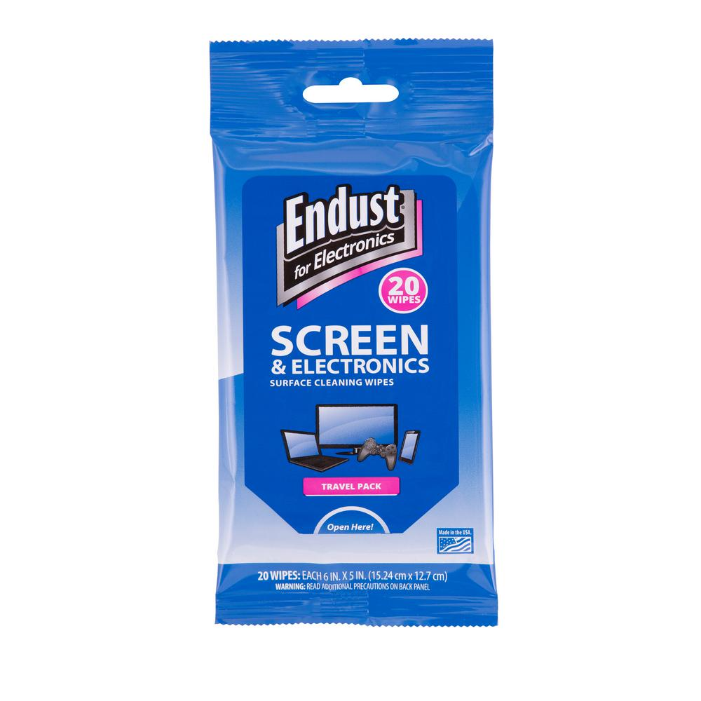 Norazza Soft Pack Screen Wipes (20-Count) Endust for Electronics is the most recognized brand in the category. These travel soft packs are perfect for the on-the-go professional or student. Re-sealable package prevents the wipes from drying out.