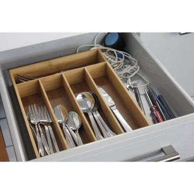 CooknCo 10 in. x 14 in. x 2 in. 5-Slot Bamboo Flatware Organizer