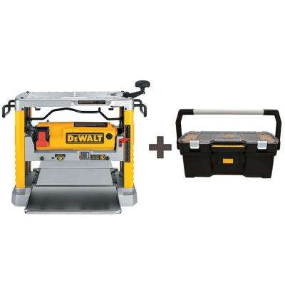 12-1/2 in. Portable Thickness Planer with Three Knife Cutter-head with Free 24 in. Tote with Organizer