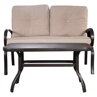 2-Piece Black Metal Outdoor Loveseat Set with CushionGuard Beige Cushions