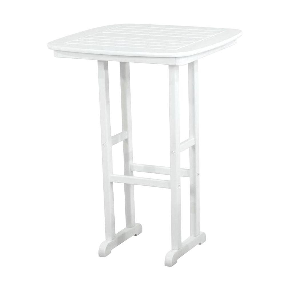 POLYWOOD Nautical White 31 In. Plastic Outdoor Patio Bar Table