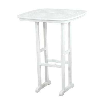 Nautical White 31 in. Plastic Outdoor Patio Bar Table