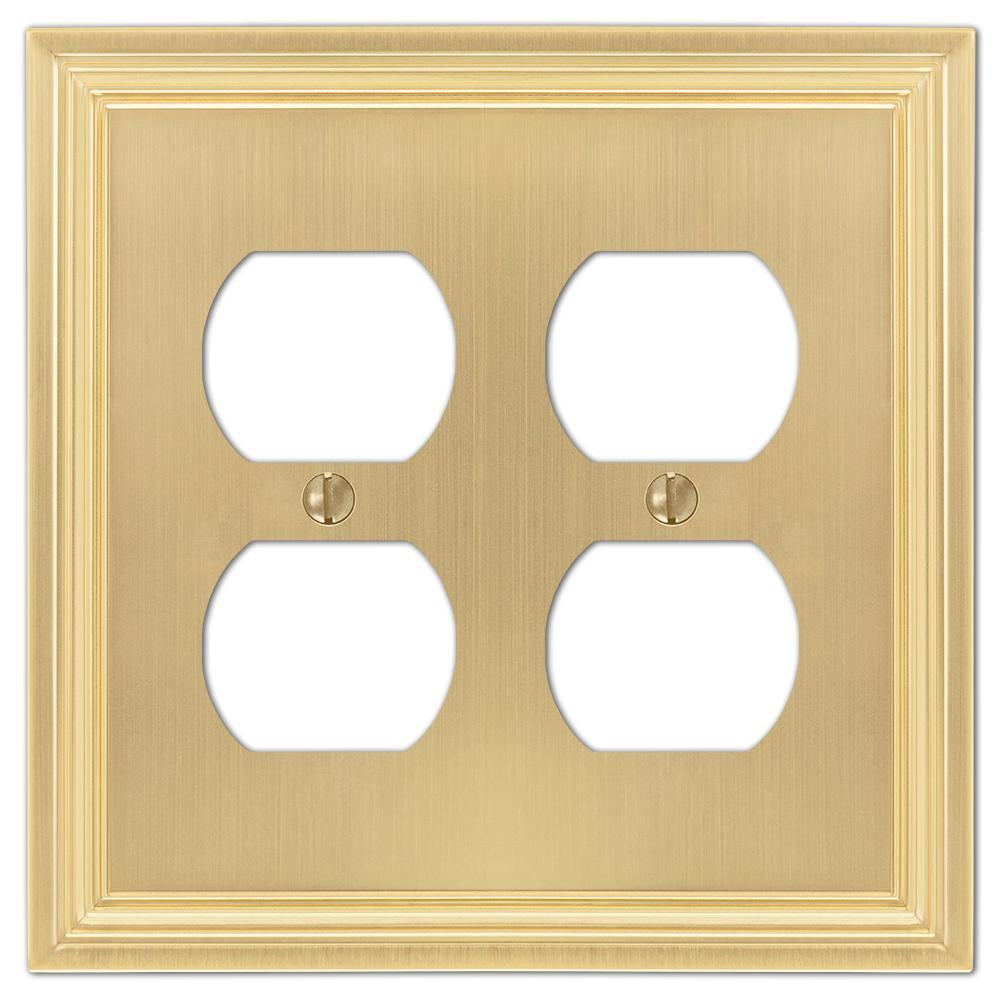 Hallcrest 2 Gang Duplex Metal Wall Plate - Satin Brass