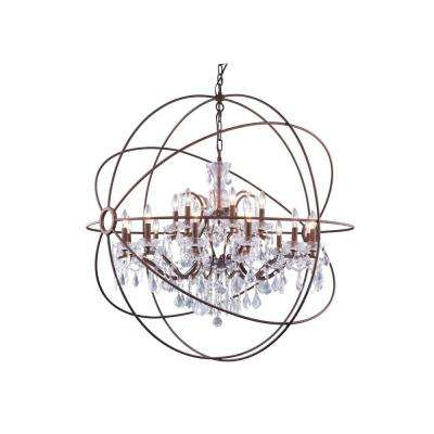 Geneva 18-Light Rustic Intent Chandelier with Clear Crystal