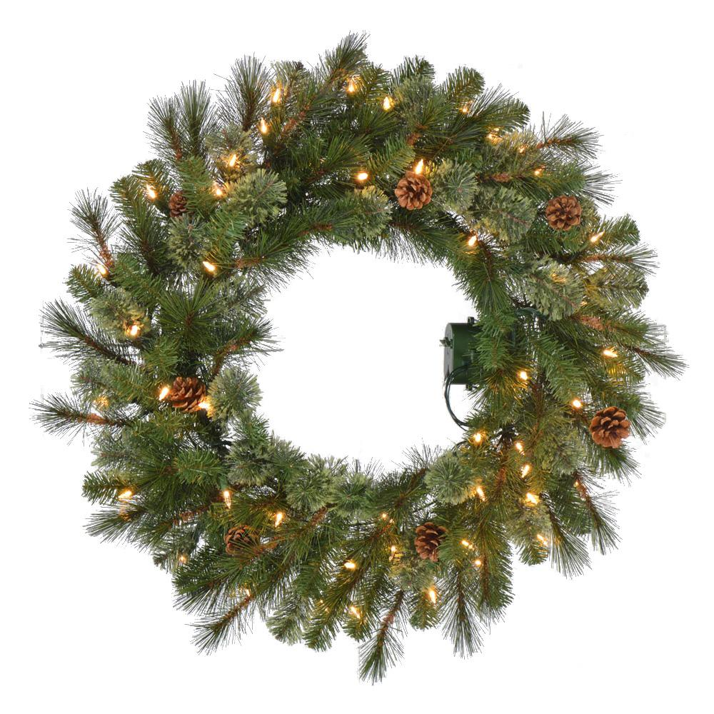 Home Accents Holiday 30 in. Battery-Operated Pre-Lit LED Artificial Alexander Pine Christmas Wreath with 140 Tips and 50 Warm White Lights