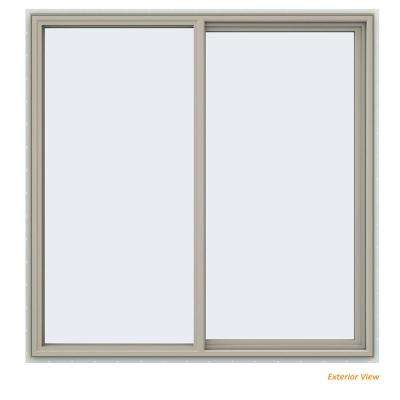 59.5 in. x 59.5 in. V-4500 Series Desert Sand Painted Vinyl Right-Handed Sliding Window with Fiberglass Mesh Screen