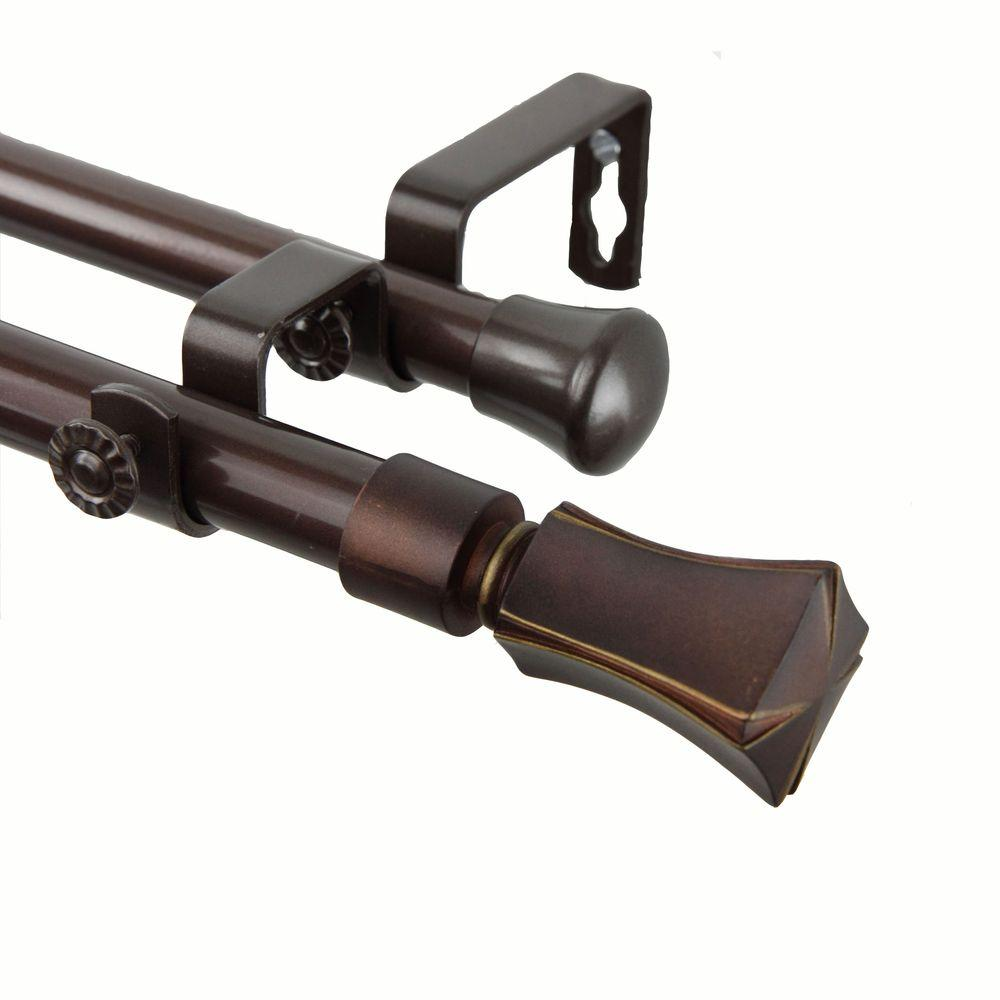 Rod Desyne 48 in. - 84 in. Telescoping Double Curtain Rod Kit in Cocoa with Fort Finial