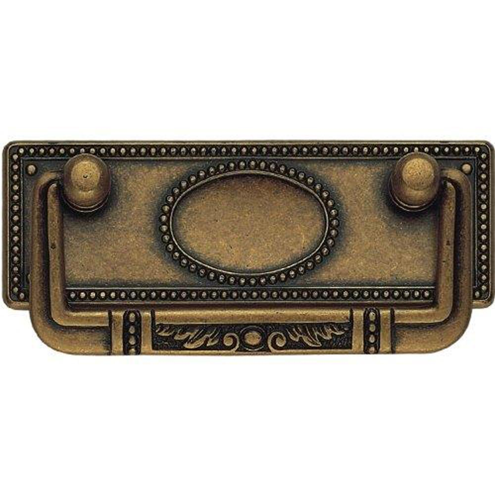 Classic Hardware Bosetti Marella 3.82 in. Antique Brass Distressed Drop Pull with Back Plate