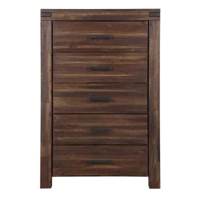 Meadow 5-Drawer Brick Brown Chest of Drawers 56 in. H x 38 in. W x 19 in. D