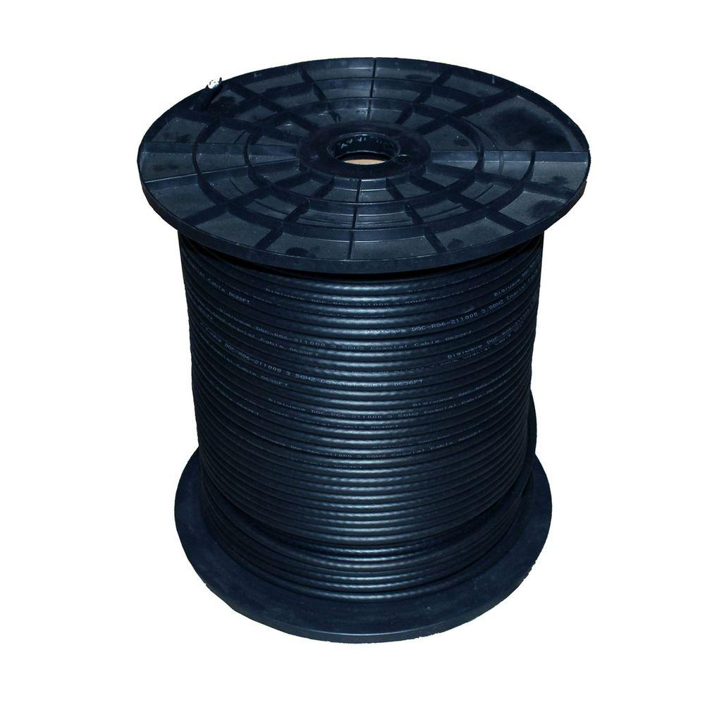 TygerWire 1000 ft. Black RG6 Coaxial Cable with FT4 Rated-RG6511000B ...