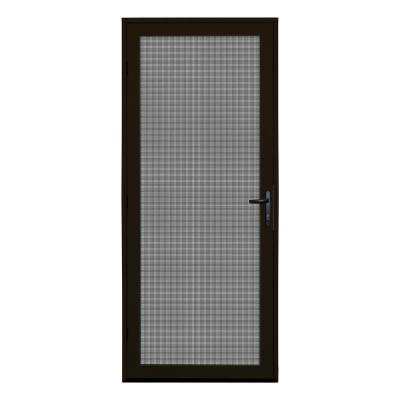 32 in. x 80 in. Bronze Surface Mount Ultimate Security Screen Door with Meshtec Screen