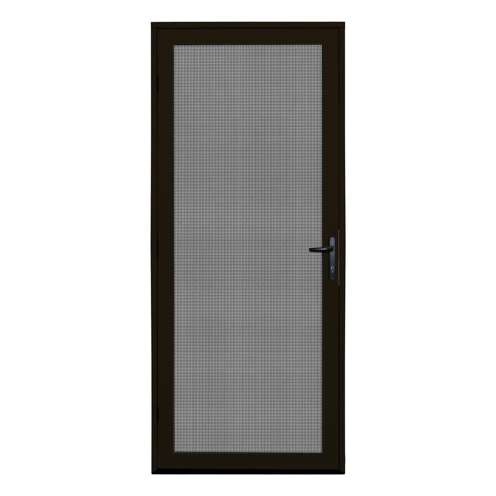 32 in. x 80 in. Bronze Surface Mount Meshtec Ultimate Screen Door