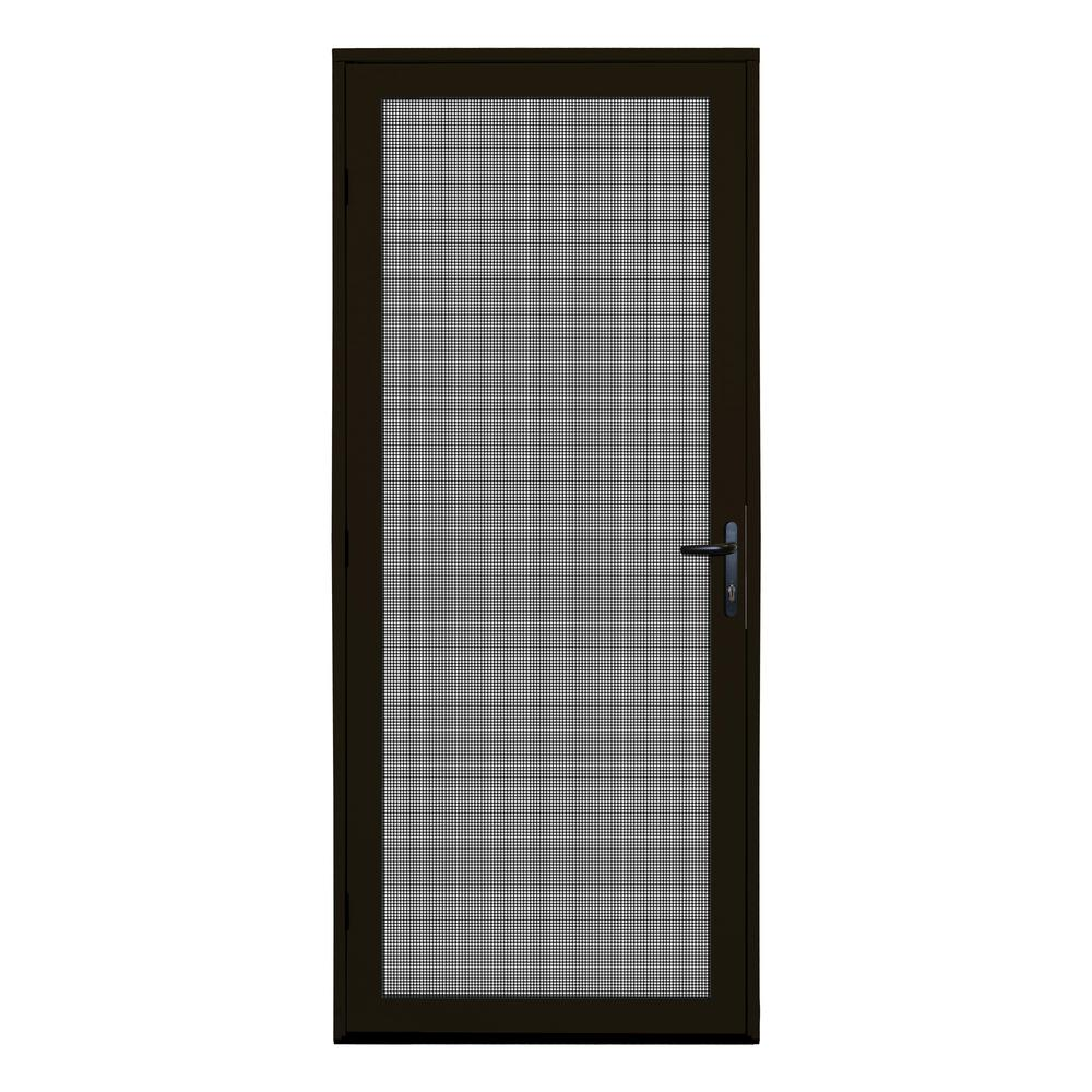 Unique Home Designs 32 In. X 80 In. Bronze Recessed Mount Meshtec Ultimate  Screen