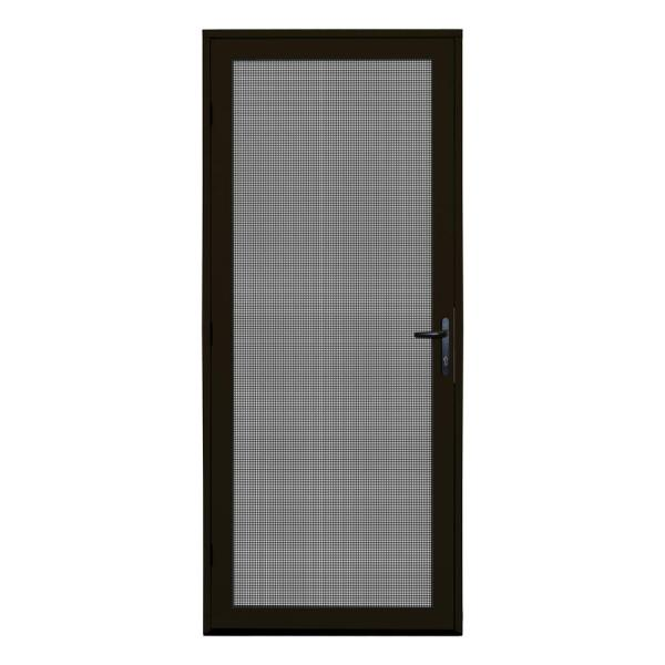 32 in. x 80 in. Bronze Recessed Mount Ultimate Security Screen Door with Meshtec Screen