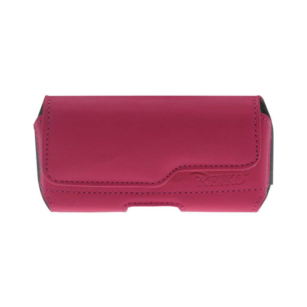 Medium Horizontal Leather Holster in Hot Pink