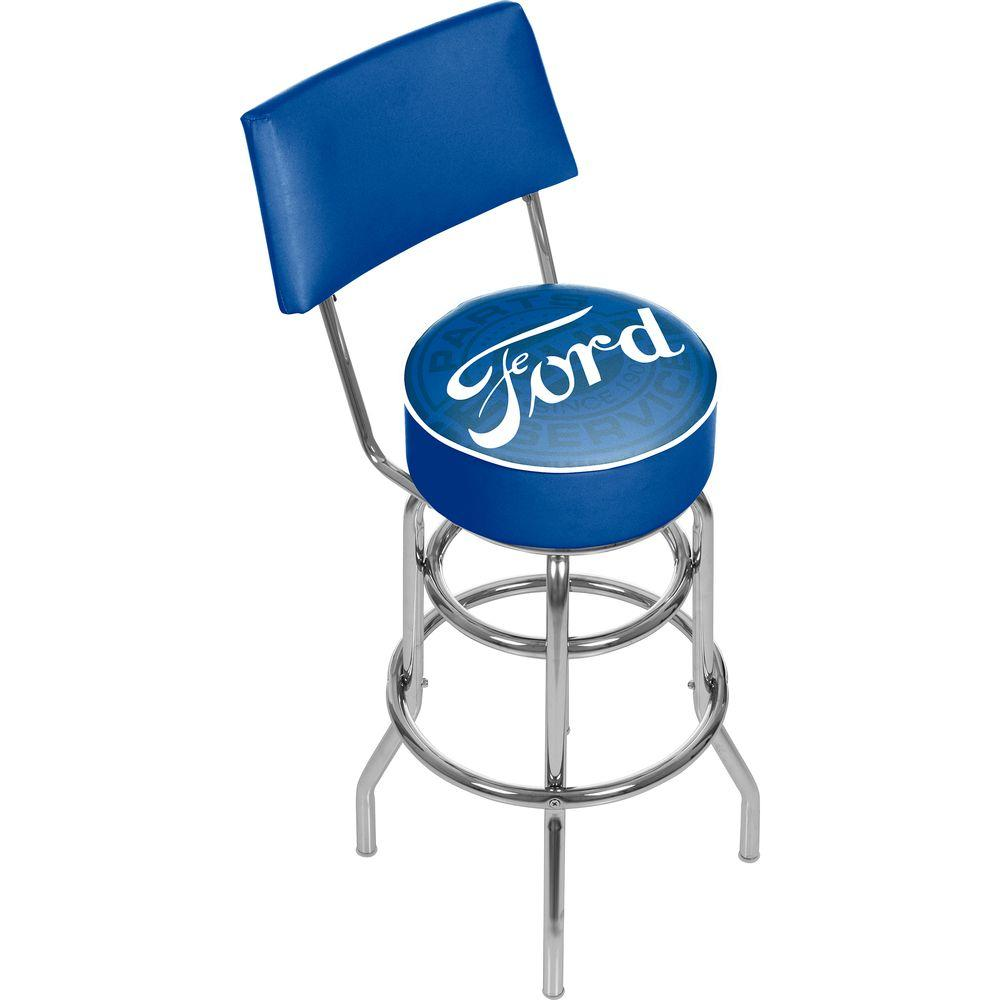 Chrome Swivel Cushioned Bar Stool