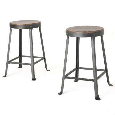 Liana 24 in. Brown Weathered Wood Counter Stool (Set of 2)