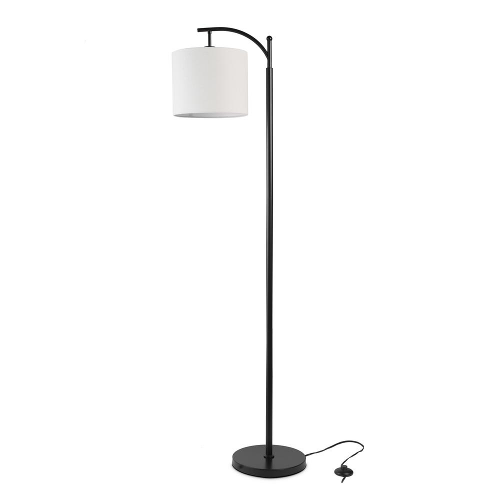 best service c67ae 2ca19 Ledpax Technology Tilden 65 in. Black and White Floor Lamp with Hanging  Shade