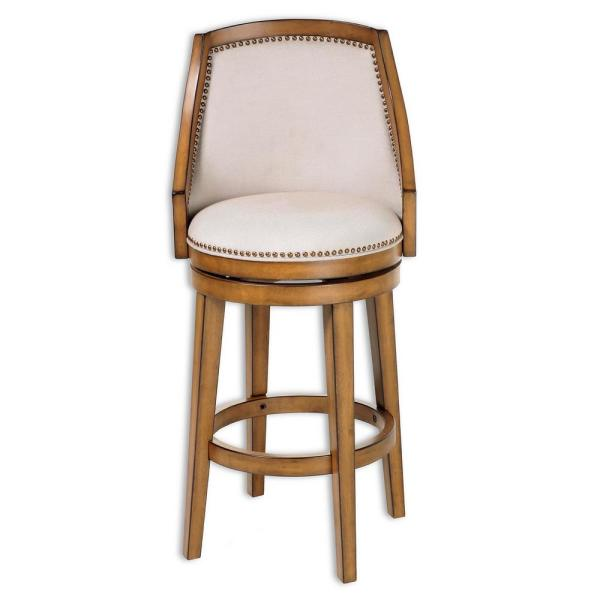 Fashion Bed Group 30 in. Charleston Wood Bar Stool with Putty Upholstered Nailhead Trim Swivel-Seat and Acorn Frame Finish