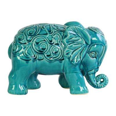 7 in. H Elephant Decorative Figurine in Turquoise Gloss Finish