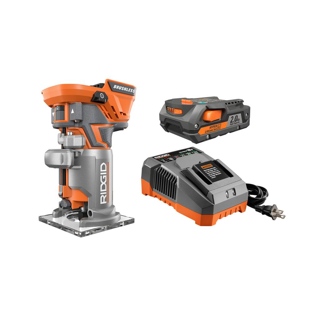 Ridgid Routers Woodworking Tools The Home Depot Mdc300120151 Brushless Speed Controllers 1hp And Over 18 Volt Gen5x Lithium Ion Cordless Compact Router Kit With 1