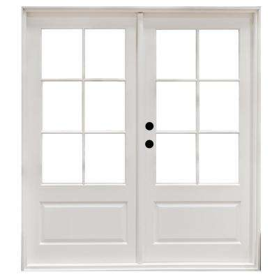 72 x 80 right handoutswing double door patio doors exterior fiberglass smooth white right hand outswing hinged 3 planetlyrics Images