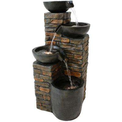 34 in. Staggered Bowls Tiered Outdoor Water Fountain with LED Lights
