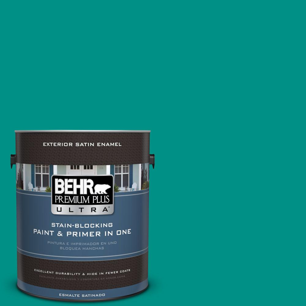 BEHR Premium Plus Ultra 1-gal. #490B-6 Emerald Coast Satin Enamel Exterior Paint