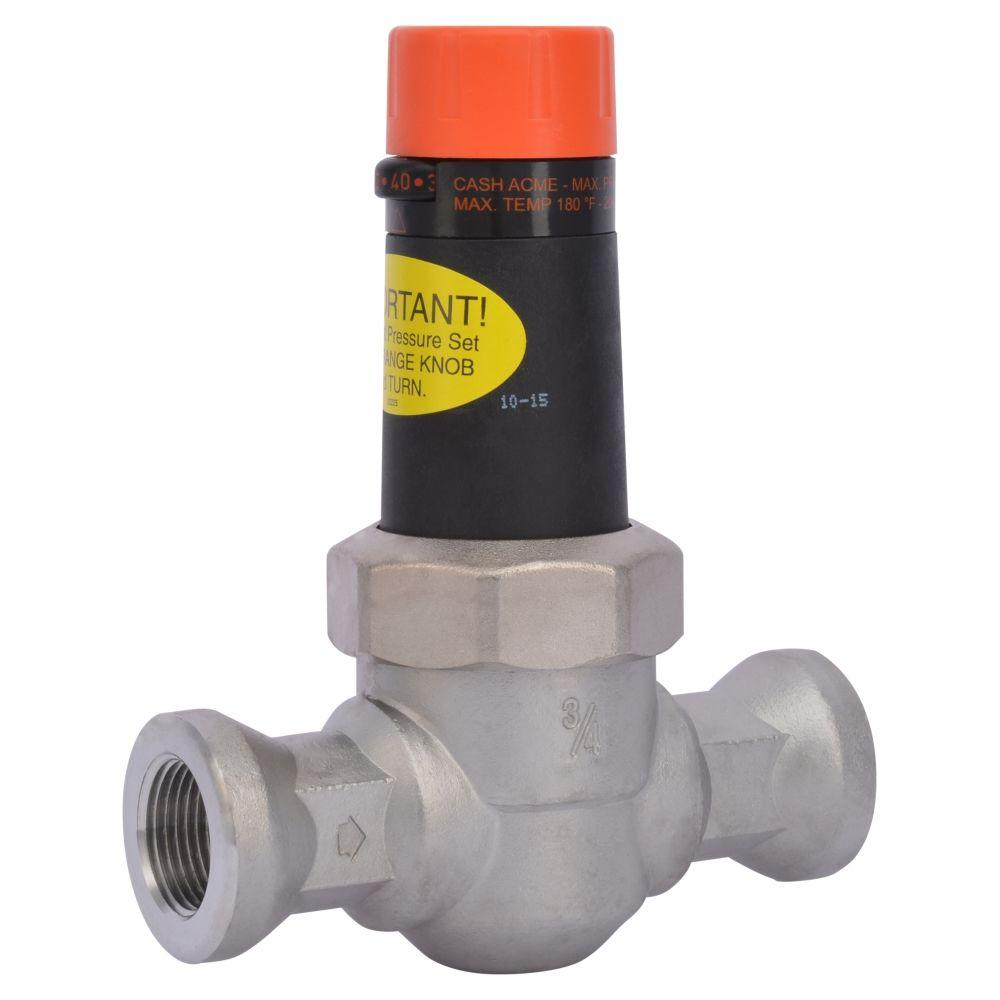 3/4 in. Stainless Steel Threaded NPT x NPT Pressure Regulating Valve