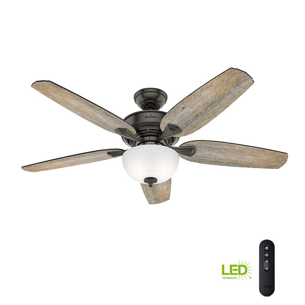 Hunter Channing 54 in. LED Indoor Easy Install Noble Bronze Ceiling ...