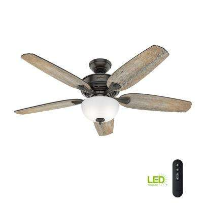 Channing 54 In Led Indoor Easy Install Noble Bronze Ceiling Fan With Hunterexpress Feature Set