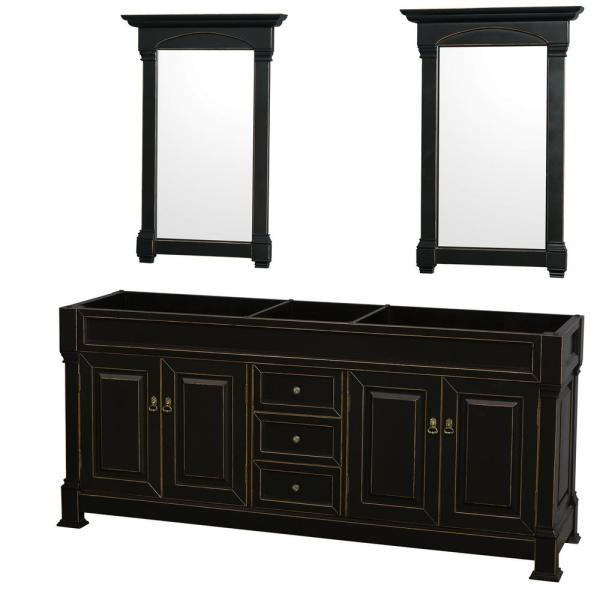 Andover 80 in. W x 22.25 in. D Bath Vanity Cabinet Only with Mirrors in Black