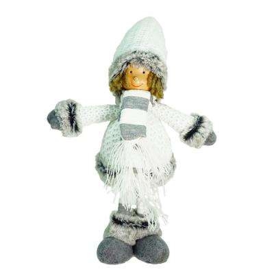 13 in. Decorative Gray and White Wintry Boy Christmas Table Top Figure