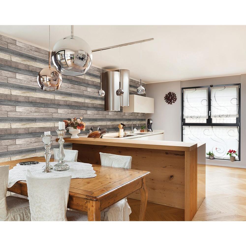 Brewster Dustin Grey Wood Wallpaper Sample