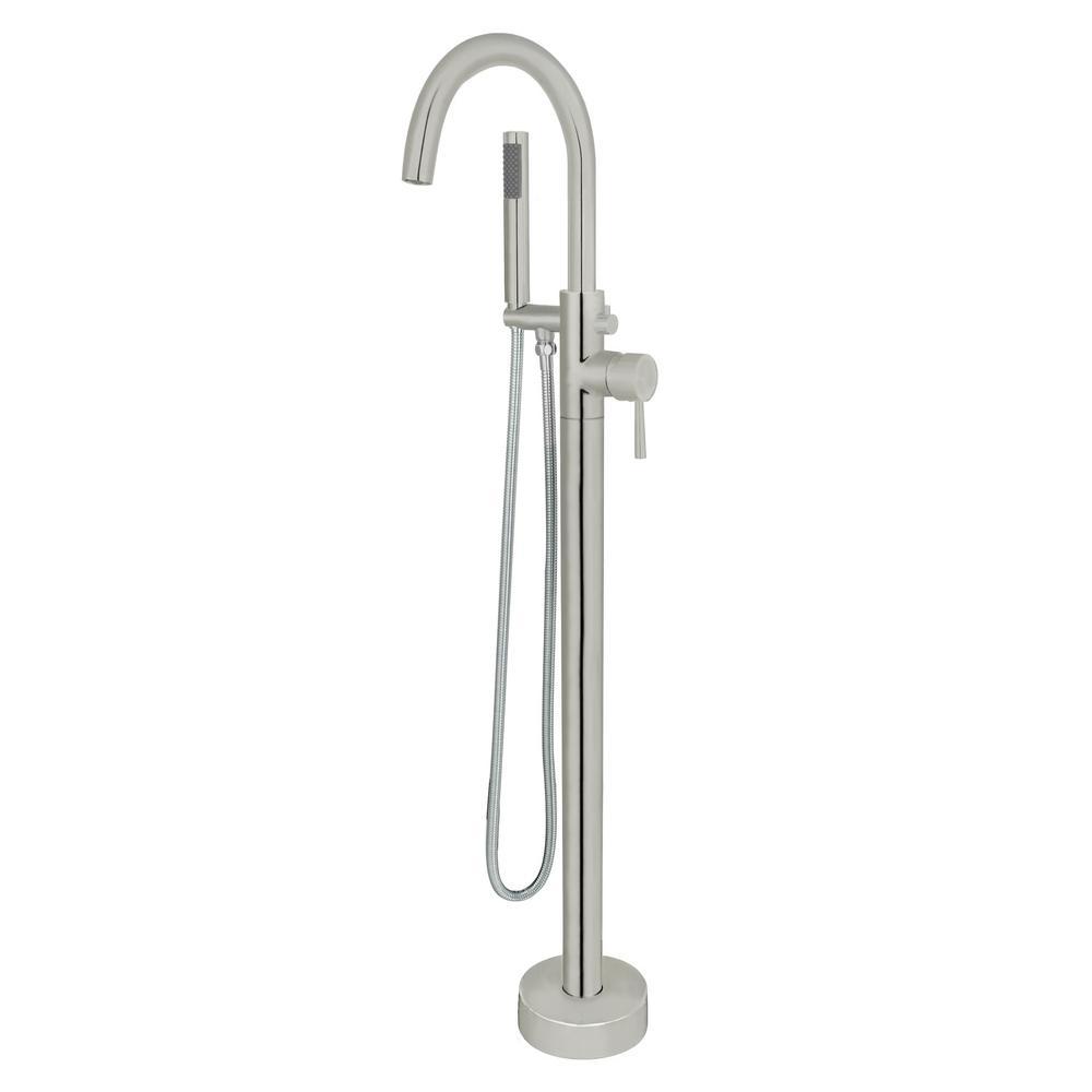 Acerra Single-Handle Freestanding Floor-Mount Roman Tub Faucet with Hand Shower in Brushed Nickel