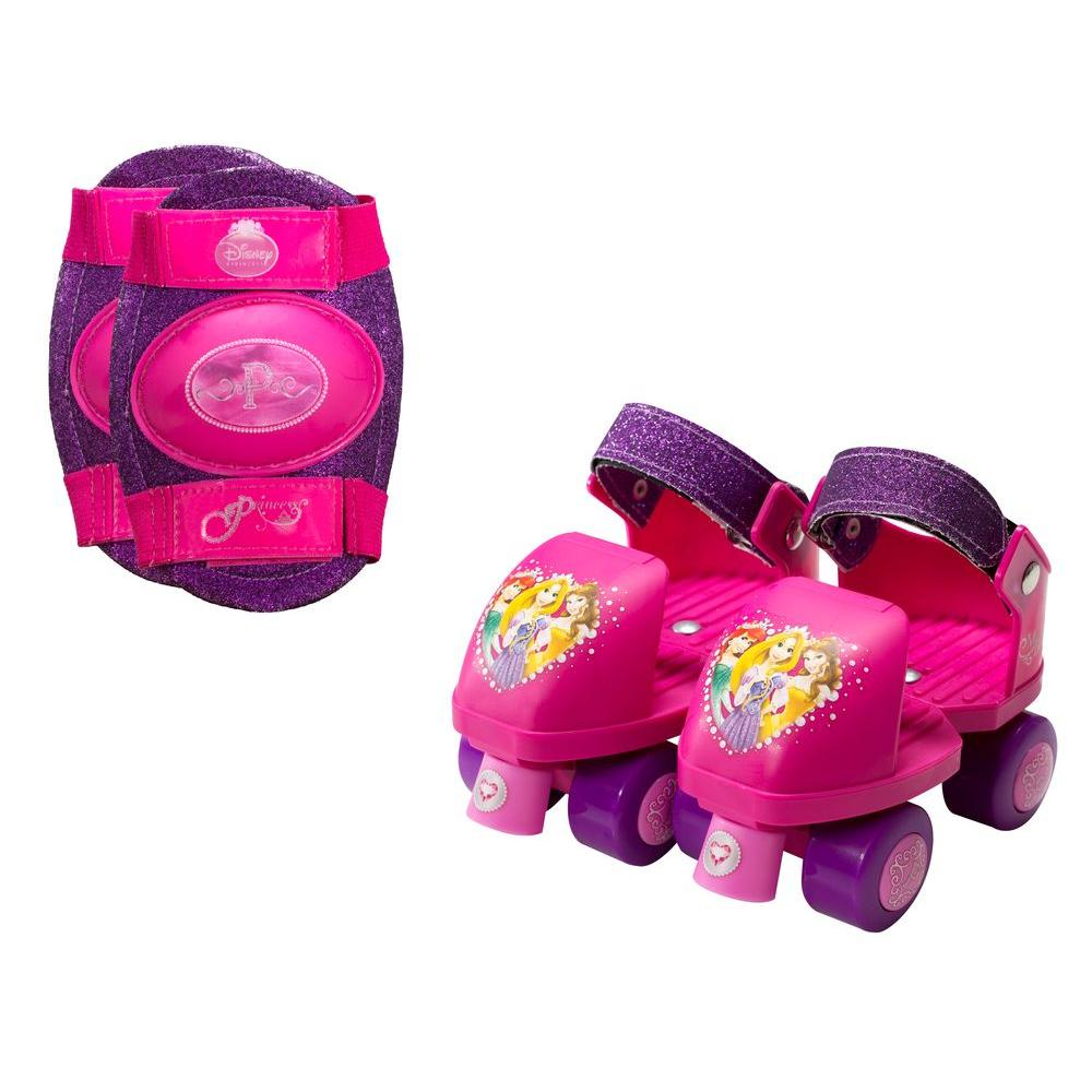 Disney Princess Glitter Junior Size 6 - 12 Kids Roller Skates with Knee Pads