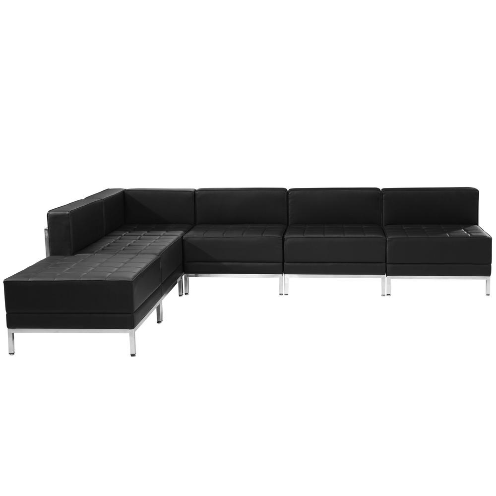 Genial Flash Furniture Hercules Imagination Series 6 Pieces Black Leather Sectional  Configuration