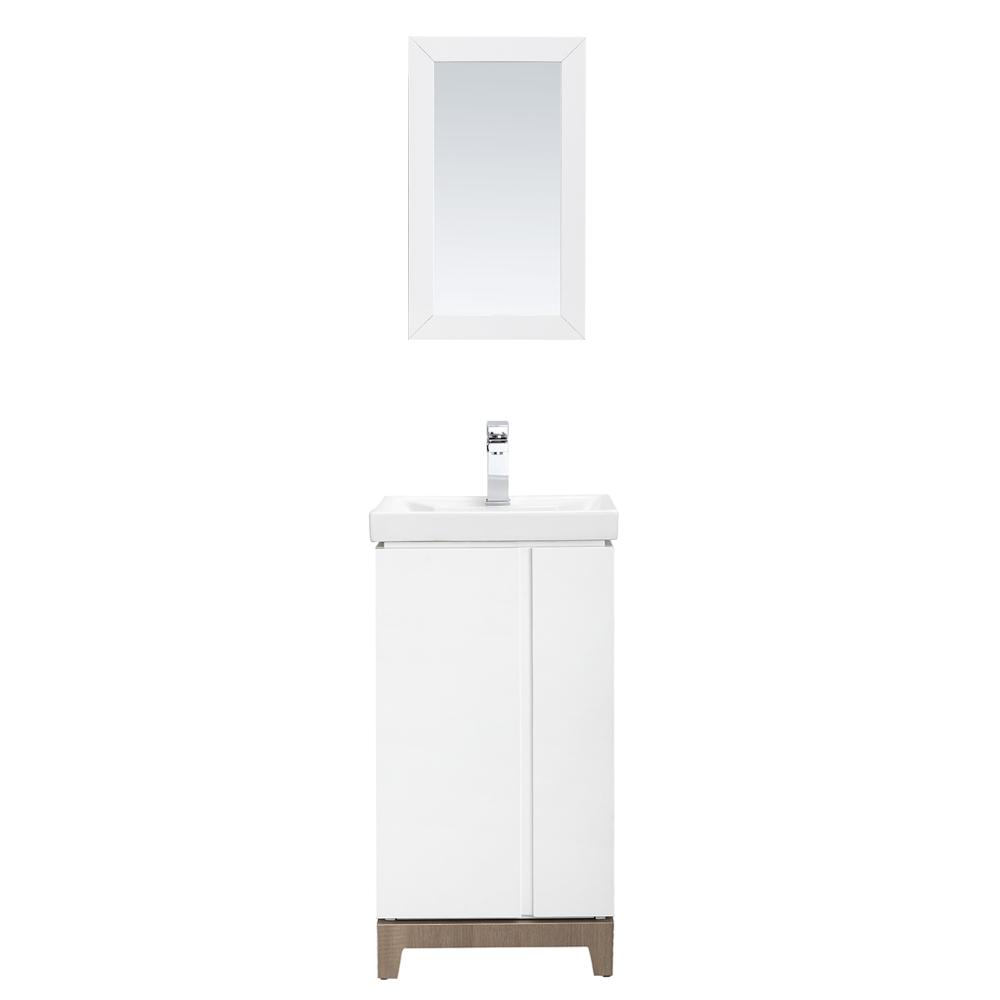 Home Decorators Collection Glovertown 18 in. x 14 in. D Vanity in High Gloss White with Ceramic Vanity Top in White with White Sink and Mirror